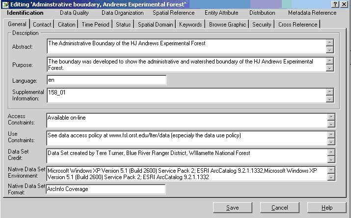 image of ArcCatalog edit metadata tool